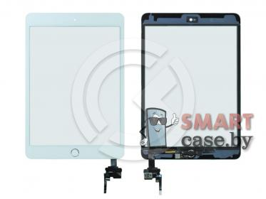 Тачскрин для iPad mini 3 (с разъемом) + серебряная кнопка HOME (белый)