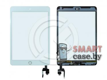 Тачскрин для iPad mini 3 (с разъемом) + золотая кнопка HOME (белый)