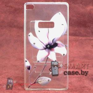 Силиконовый чехол для Huawei Ascend P8 (цветок со стразами)