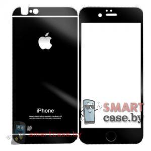 Закаленное стекло 2в1 для iPhone 6/6s на две стороны (черное)