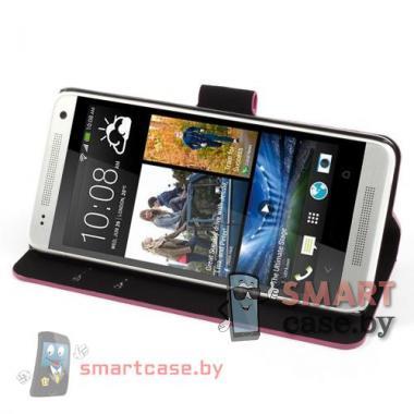 Чехол-кошелек для HTC mini красный в белый горошек