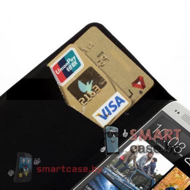 Чехол-кошелек для HTC mini белый в черный горошек