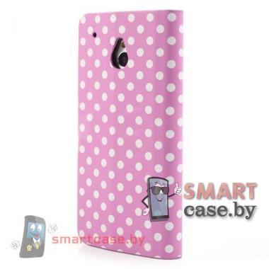 Чехол-кошелек для HTC mini розовый в белый горошек