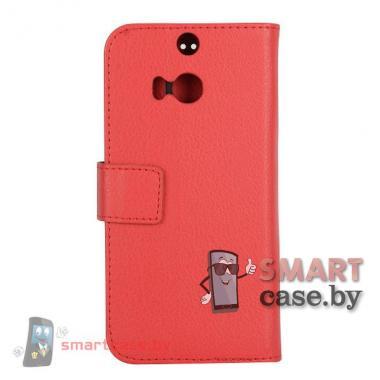 Кожаный чехол-книжка для HTC One M8 (Малиновый)