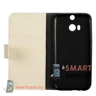 Кожаный чехол-книжка для HTC One M8 (Белый)