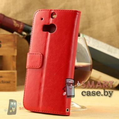 Кожаный чехол-книжка для HTC One M8 Crazy Horse (Красный)