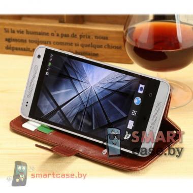 Кожаный чехол для HTC One coffee