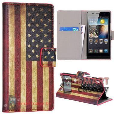 Кожаный чехол - кошелек для Huawei Ascend P6 (США)