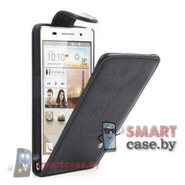 Кожаный чехол - флип для Huawei Ascend P6 (черный)
