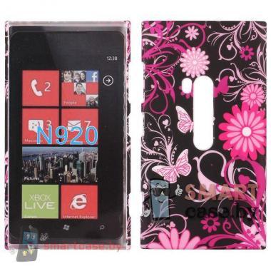 Пластиковый футляр для Nokia Lumia 920 (розовые бабочки)