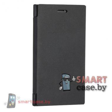 Кожаный чехол флип для Nokia Lumia 920 (черный)