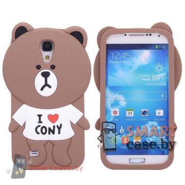Силиконовый чехол накладка  для Samsung Galaxy S4 i9500 (медвежонок)