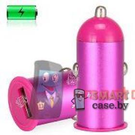 Автомобильное зарядное на USB 1А (розовый)