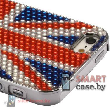 Чехол с покрытием из кристаллов для iPhone 5, iPhone 5s (Британский флаг)