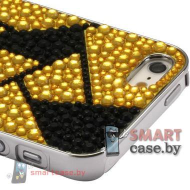 Чехол с покрытием из кристаллов для iPhone 5, iPhone 5s (черный с золотом)