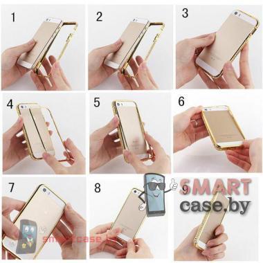 Стильный бампер инкрустированный стразами для iPhone 5, iPhone 5s (Серебро)