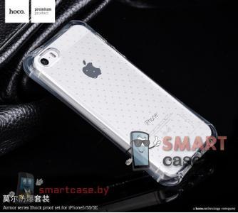Чехол для iPhone 5/5S Hoco 10M + бронепленка усиленная защита (прозрачный)
