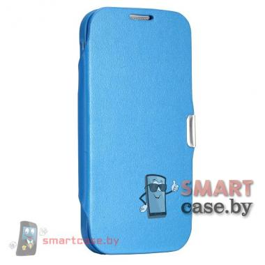 Кожаный чехол флип + бампер для Samsung Galaxy i9500 S4 (синий)
