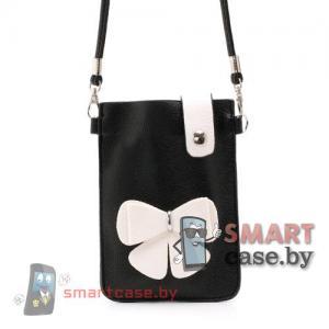 Универсальная сумочка для телефонов на ремешке (черная с белым цветком)