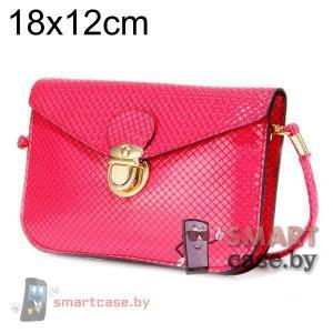 Универсальная кожаная сумочка для телефона с ремешком (Розовая сетка)