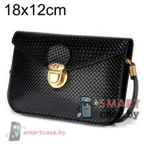 Универсальная кожаная сумочка для телефона с ремешком (Черная)