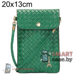 Универсальная сумочка для телефонов на ремешке 20*13 плетеная (зеленая)