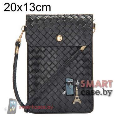 Универсальная сумочка для телефонов на ремешке 20*13 плетеная (черная)