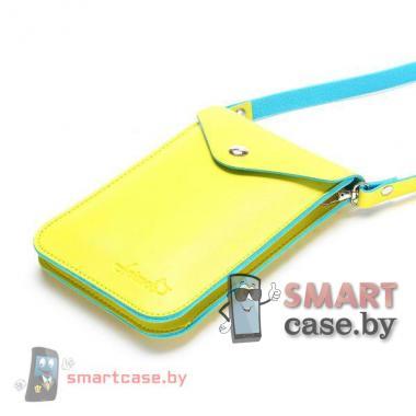 Универсальная сумочка для телефонов на ремешке (желто-зеленая)