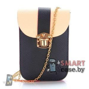 Универсальная сумочка для телефонов на цепочке (черный с бежевым)