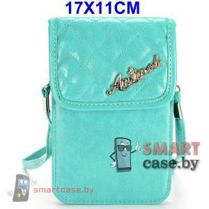Универсальная кожаная сумочка для телефона с ремешком 17*11см (Бирюза)