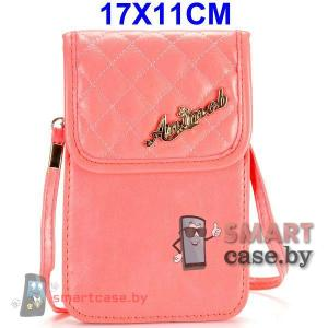 Универсальная кожаная сумочка для телефона с ремешком 17*11см (Розовая)