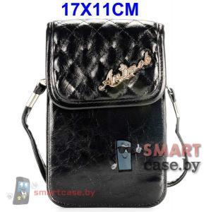 Универсальная кожаная сумочка для телефона с ремешком 17*11см (Черная)