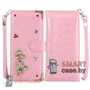 Универсальная кожаная сумка кошелек для телефона со стразами (Розовая)