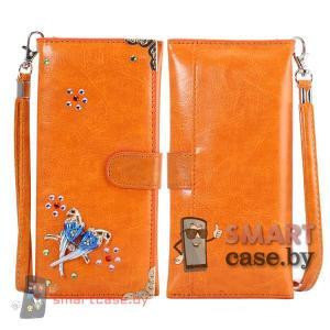Универсальная кожаная сумка кошелек для телефона со стразами (Коричневая)