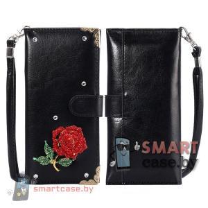 Чехол кошелек для телефонов (черный с красной розой)