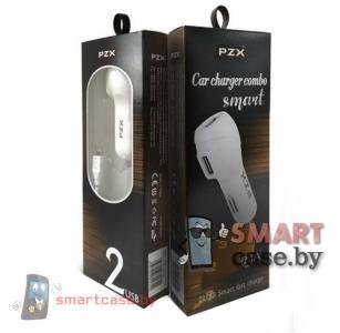 Зарядное устройство автомобильное PZX C910 2.1А 2USB + кабель Micro USB (белый)