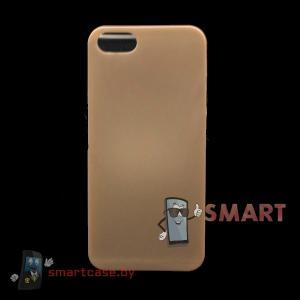 Чехол для iPhone 5/5S матовый, полупрозрачный, 0.3 мм (золотой)