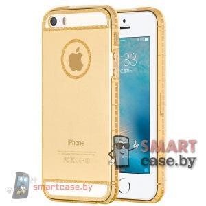 Силиконовый чехол для iPhone 5/5S HOCO (прозрачный с золотым узором)