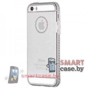 Силиконовый чехол для iPhone 5/5S HOCO (прозрачный с серебряным узором)