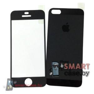 Защитное стекло 2в1 для iPhone 5/5s на две стороны матовое (черное)