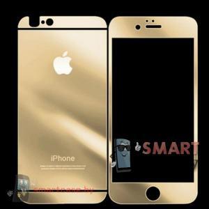 Закаленное стекло 2в1 для iPhone 5/5s на две стороны (золотое)