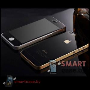 Закаленное стекло 2в1 для iPhone 5/5s на две стороны (черное глянцевое)