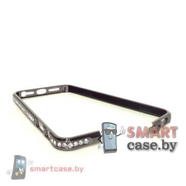 Бампер для iPhone 5 металлический (черный с белыми стразами)