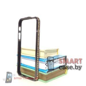 Бампер для iPhone 5 металлический (черный с желтыми стразами)