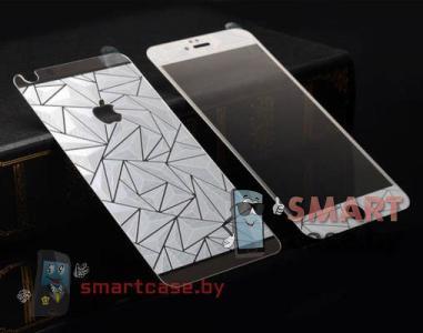 Закаленное стекло 2в1 для iPhone 5/5s на две стороны 3D (серебро)