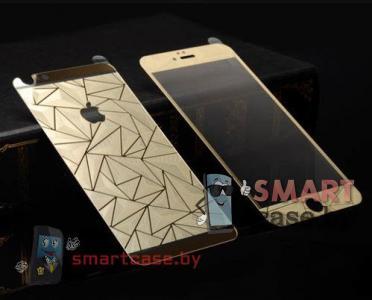 Закаленное стекло 2в1 для iPhone 5/5s на две стороны 3D (золотое)