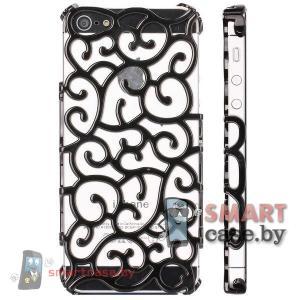Чехол сеточка для iPhone 5 5S (черный со стразами)