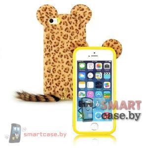 Меховой чехол для iPhone 5 5s с хвостом и ушами (Леопард)