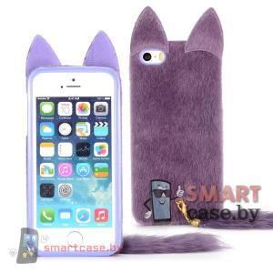 Меховой чехол для iPhone 5 5s с хвостом и ушами (Фиолетовый)