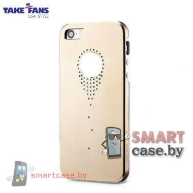 Алюминиевый чехол со стразами для iPhone 5/5S TakeFans (золото)